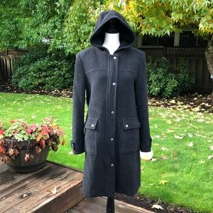 Micheal Micheal Kors 100% Wool Hooded Midi Coat